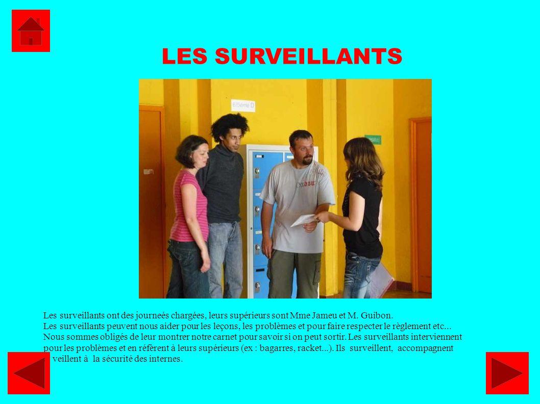 Les surveillants ont des journeés chargées, leurs supérieurs sont Mme Jameu et M. Guibon. Les surveillants peuvent nous aider pour les leçons, les pro
