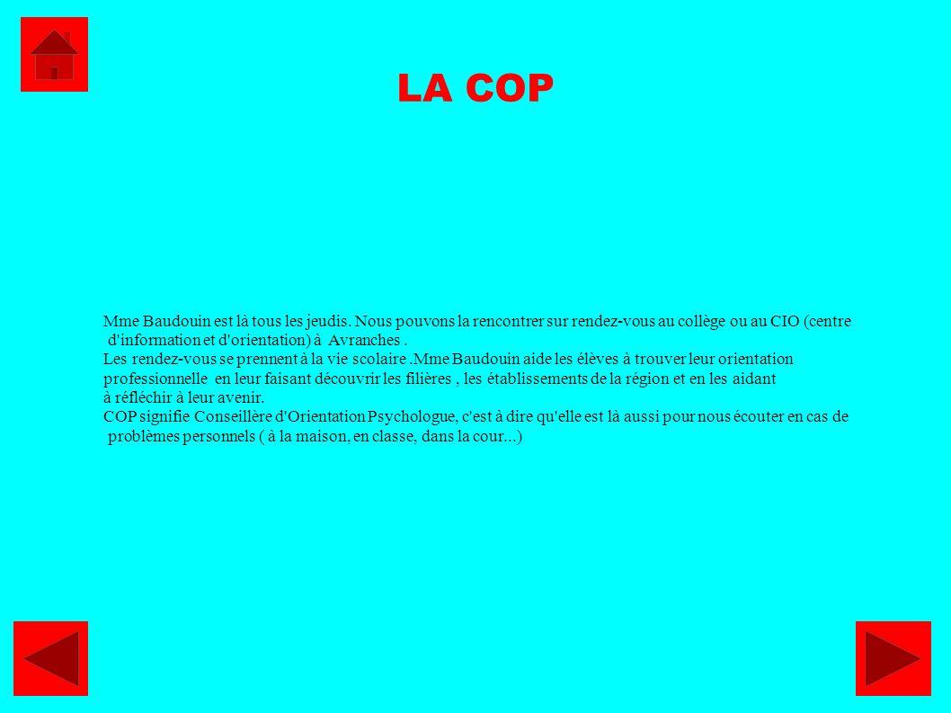 LA COP Mme Baudouin est là tous les jeudis. Nous pouvons la rencontrer sur rendez-vous au collège ou au CIO (centre d'information et d'orientation) à