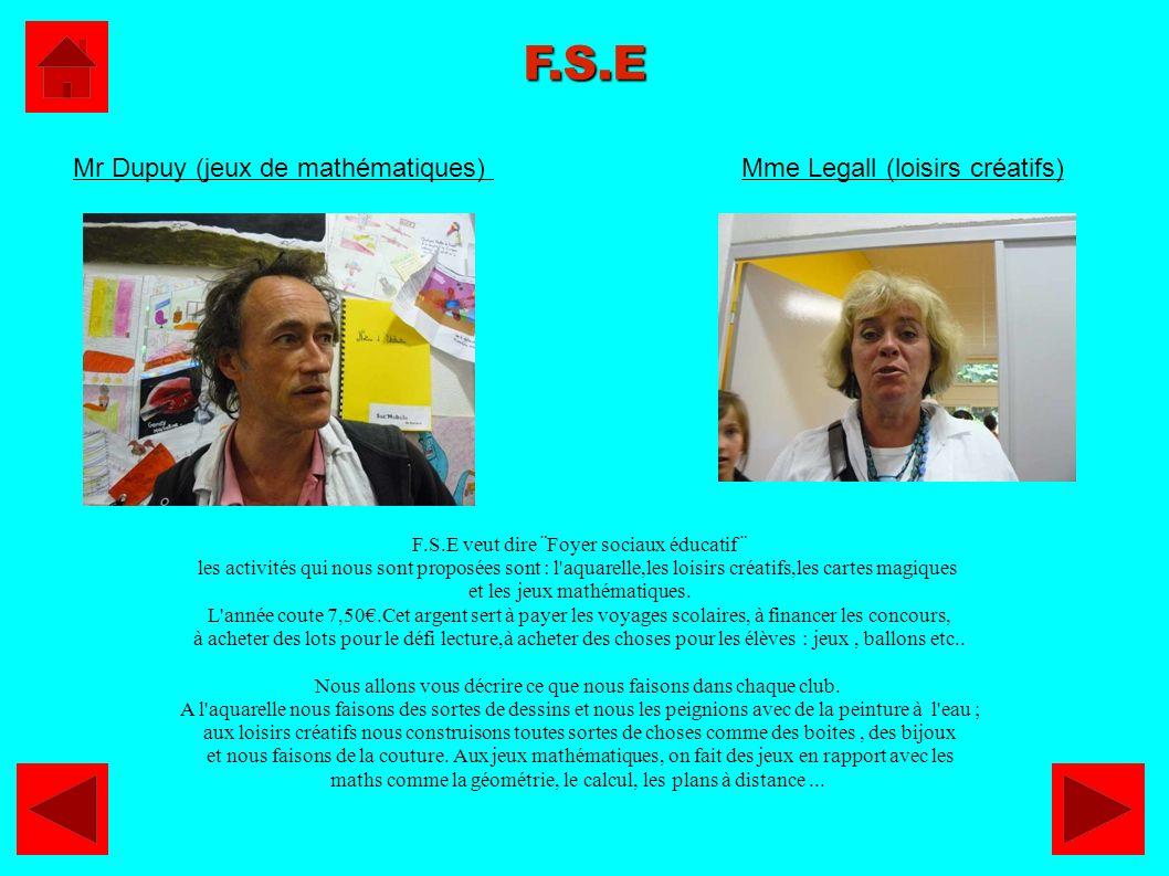 F.S.E F.S.E veut dire ¨Foyer sociaux éducatif ¨ les activités qui nous sont proposées sont : l'aquarelle,les loisirs créatifs,les cartes magiques et l