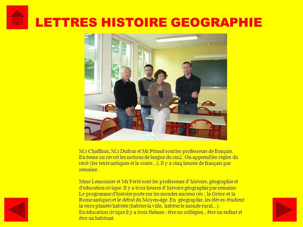 M.r Chaffaux, M.r Dufour et Mr Pitaud sont les professeurs de français. En 6eme on revoit les notions de langue du cm2. On apprend les règles du récit