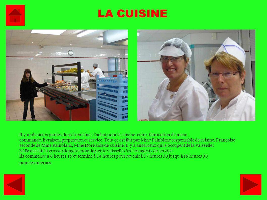LA CUISINE Il y a plusieurs parties dans la cuisine : l'achat pour la cuisine, cuire, fabrication du menu, commande, livraison, préparation et service