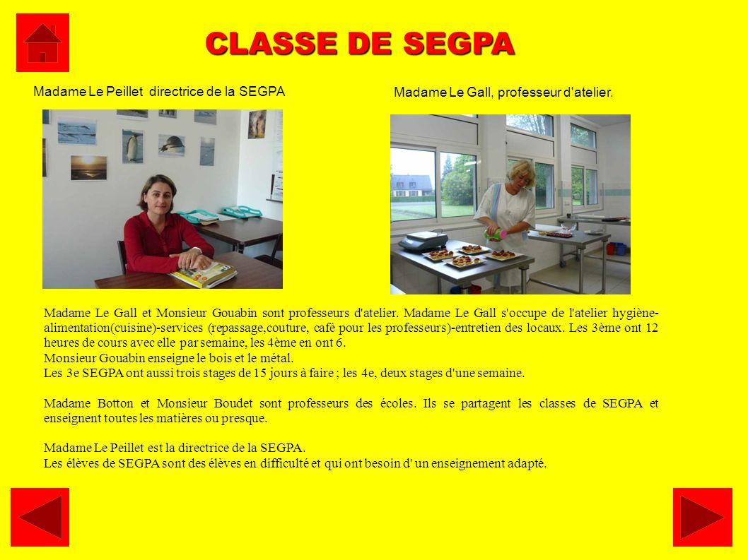 CLASSE DE SEGPA Madame Le Gall et Monsieur Gouabin sont professeurs d'atelier. Madame Le Gall s'occupe de l'atelier hygiène- alimentation(cuisine)-ser