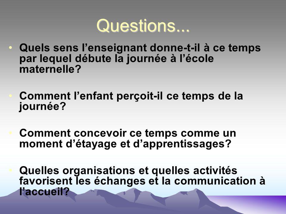 Questions... Quels sens lenseignant donne-t-il à ce temps par lequel débute la journée à lécole maternelle? Comment lenfant perçoit-il ce temps de la