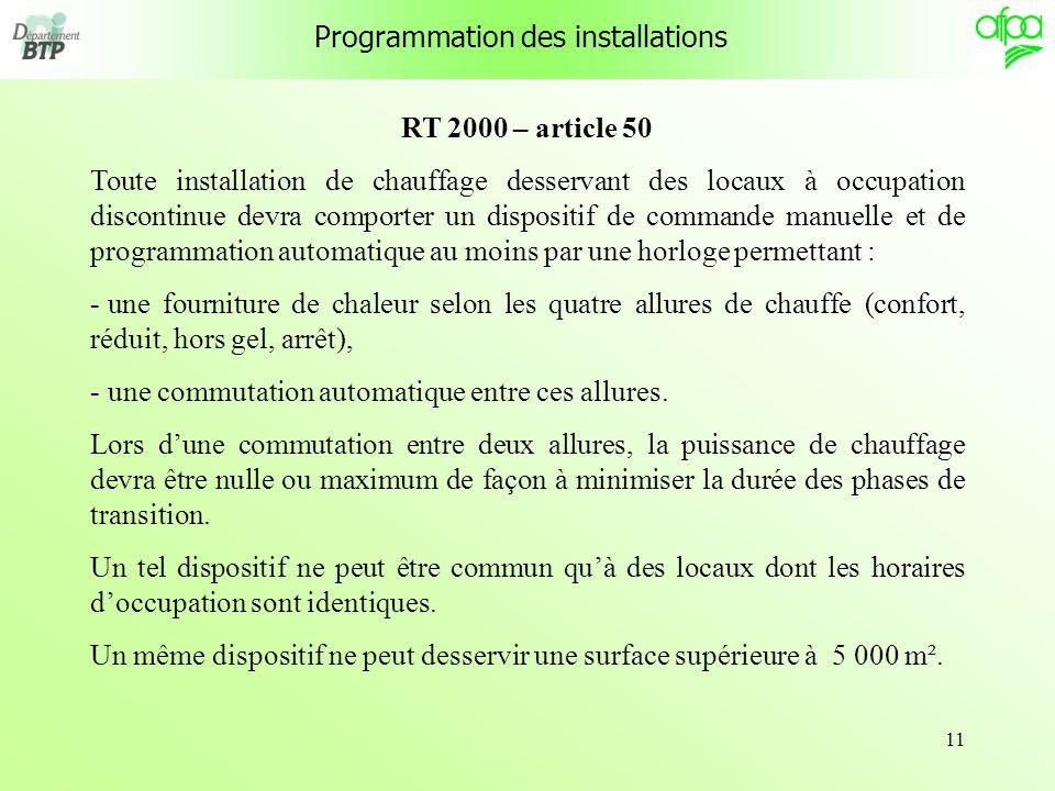 11 Programmation des installations RT 2000 – article 50 Toute installation de chauffage desservant des locaux à occupation discontinue devra comporter