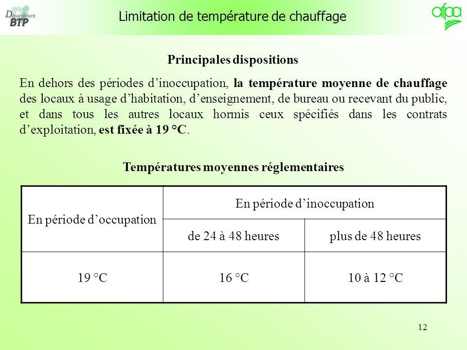 12 Limitation de température de chauffage Principales dispositions En dehors des périodes dinoccupation, la température moyenne de chauffage des locau
