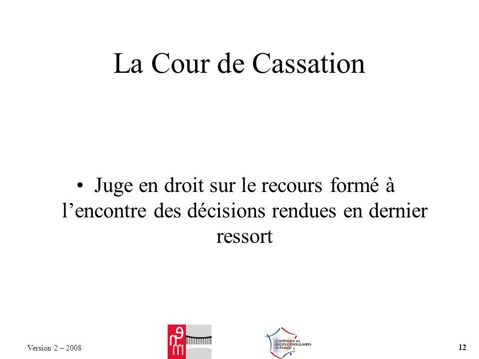 La Cour de Cassation Juge en droit sur le recours formé à lencontre des décisions rendues en dernier ressort Version 2 – 2008 12