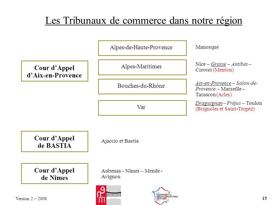 Les Tribunaux de commerce dans notre région Cour dAppel dAix-en-Provence Manosque Alpes-de-Haute-Provence Nice – Grasse – Antibes – Cannes (Menton) Al