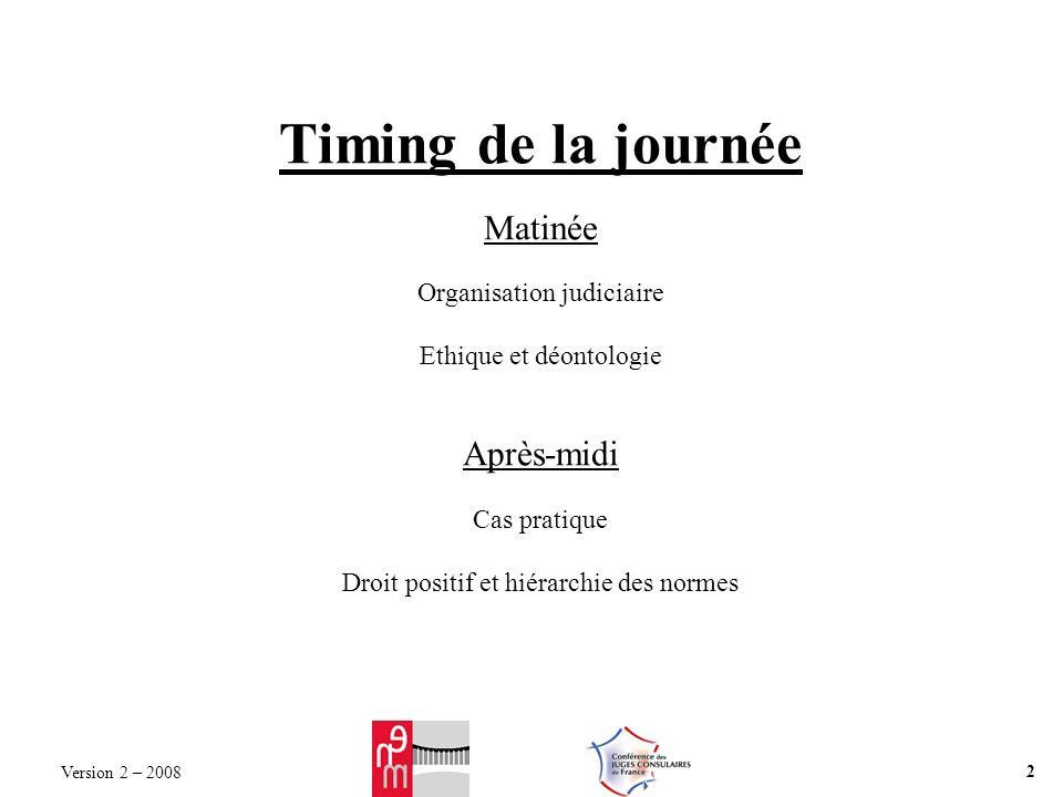 Timing de la journée Matinée Organisation judiciaire Ethique et déontologie Après-midi Cas pratique Droit positif et hiérarchie des normes Version 2 – 2008 2