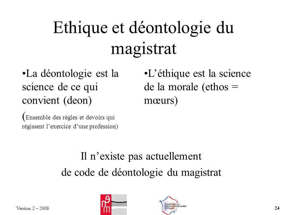 Ethique et déontologie du magistrat La déontologie est la science de ce qui convient (deon) ( Ensemble des règles et devoirs qui régissent lexercice d