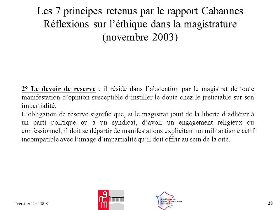 Les 7 principes retenus par le rapport Cabannes Réflexions sur léthique dans la magistrature (novembre 2003) 2° Le devoir de réserve : il réside dans
