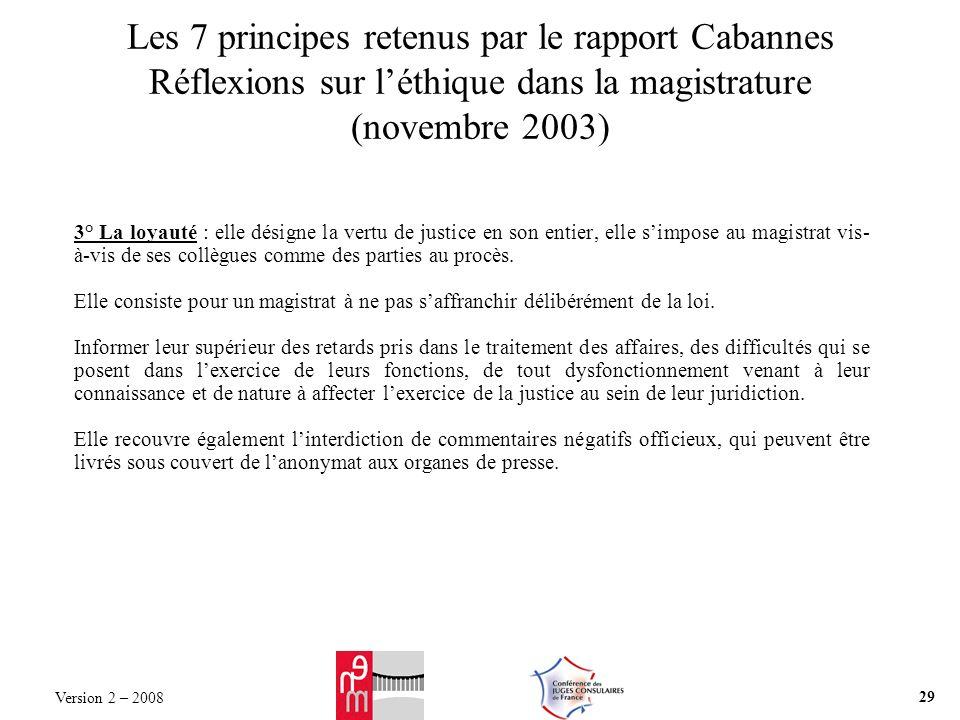 Les 7 principes retenus par le rapport Cabannes Réflexions sur léthique dans la magistrature (novembre 2003) 3° La loyauté : elle désigne la vertu de justice en son entier, elle simpose au magistrat vis- à-vis de ses collègues comme des parties au procès.