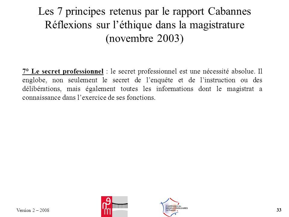 Les 7 principes retenus par le rapport Cabannes Réflexions sur léthique dans la magistrature (novembre 2003) 7° Le secret professionnel : le secret professionnel est une nécessité absolue.