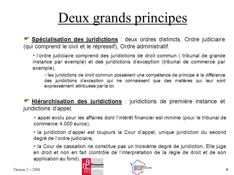 Deux grands principes Spécialisation des juridictions : deux ordres distincts, Ordre judiciaire (qui comprend le civil et le répressif), Ordre adminis