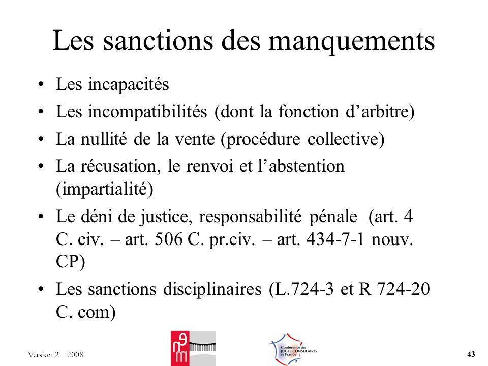 Les sanctions des manquements Les incapacités Les incompatibilités (dont la fonction darbitre) La nullité de la vente (procédure collective) La récusation, le renvoi et labstention (impartialité) Le déni de justice, responsabilité pénale (art.