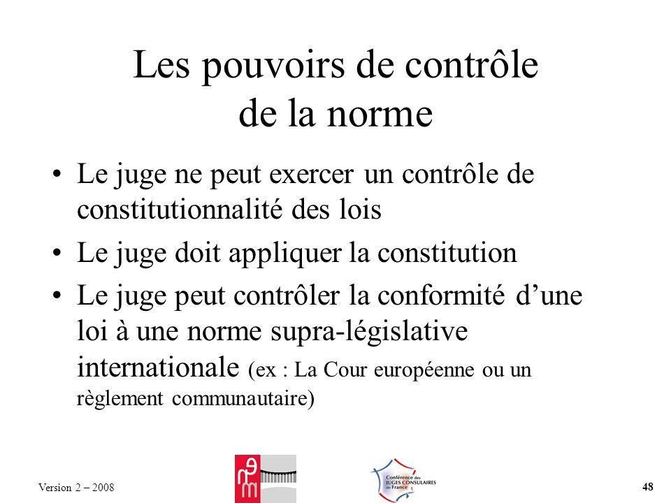 Les pouvoirs de contrôle de la norme Le juge ne peut exercer un contrôle de constitutionnalité des lois Le juge doit appliquer la constitution Le juge
