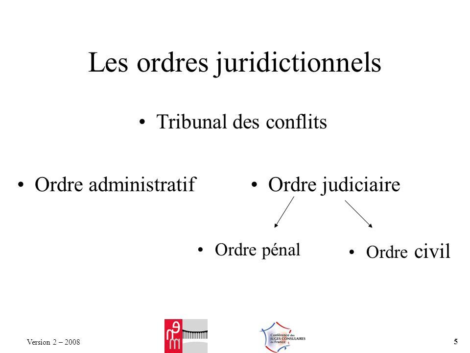 Les ordres juridictionnels Ordre pénal Ordre administratifOrdre judiciaire Ordre civil Tribunal des conflits Version 2 – 2008 5