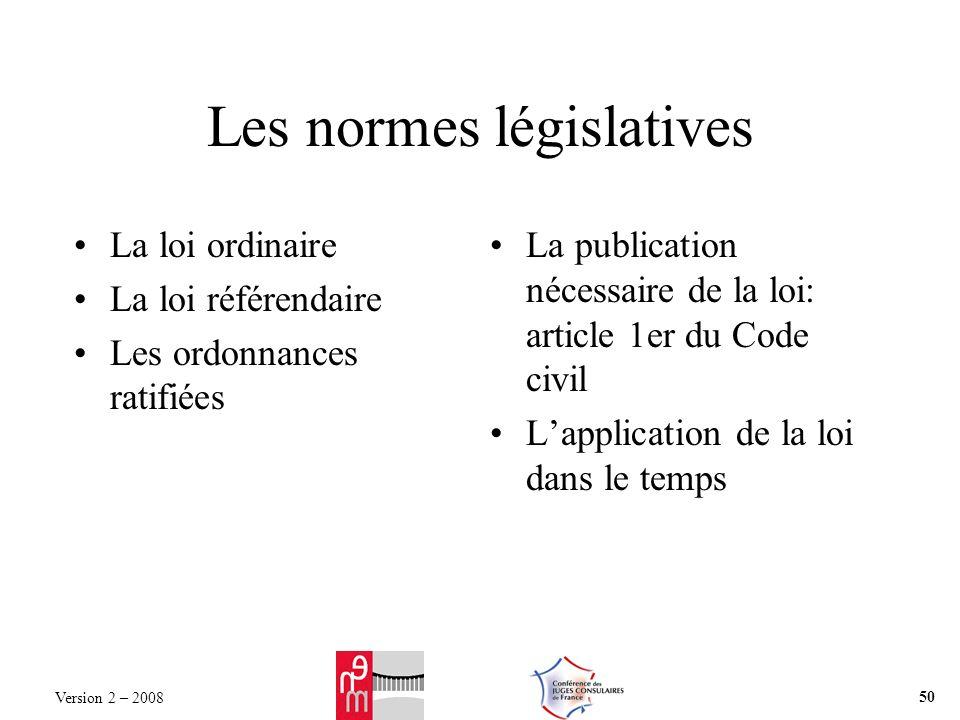 Les normes législatives La loi ordinaire La loi référendaire Les ordonnances ratifiées La publication nécessaire de la loi: article 1er du Code civil