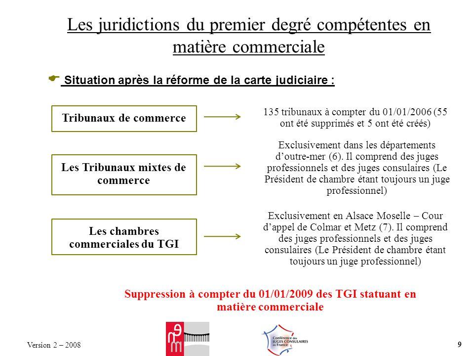 Les juridictions du premier degré compétentes en matière commerciale Situation après la réforme de la carte judiciaire : Tribunaux de commerce 135 tribunaux à compter du 01/01/2006 (55 ont été supprimés et 5 ont été créés) Les Tribunaux mixtes de commerce Exclusivement dans les départements doutre-mer (6).