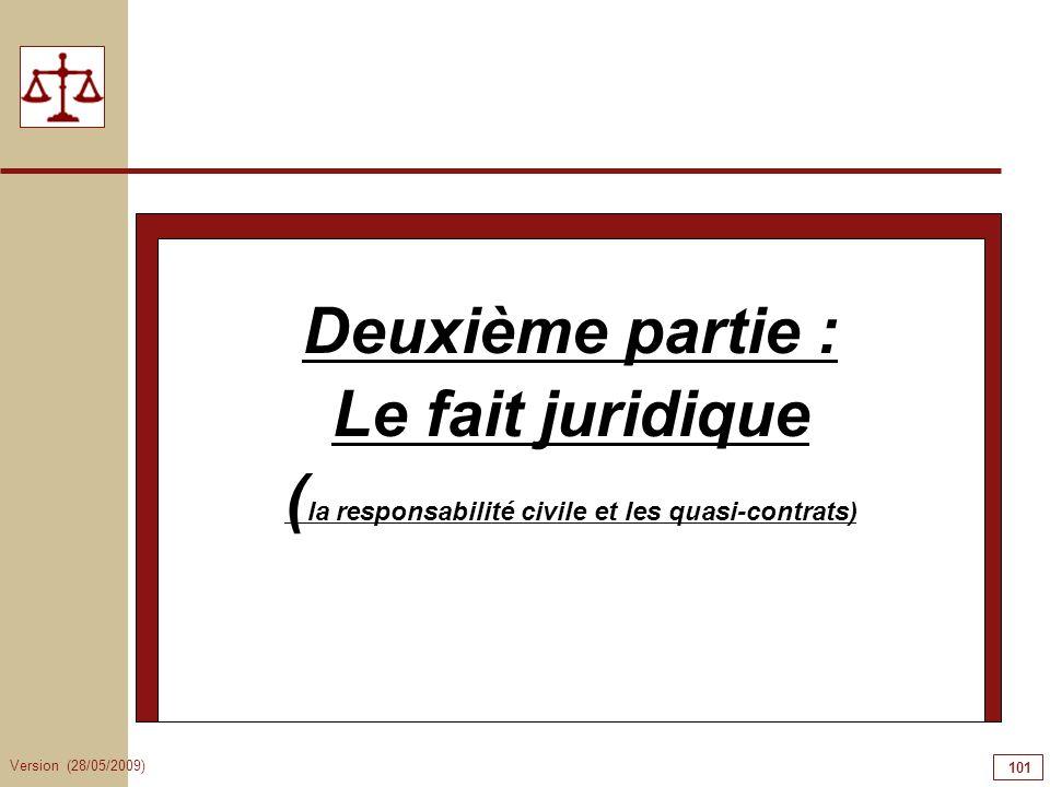 Version (28/05/2009) 101 Deuxième partie : Le fait juridique ( la responsabilité civile et les quasi-contrats)