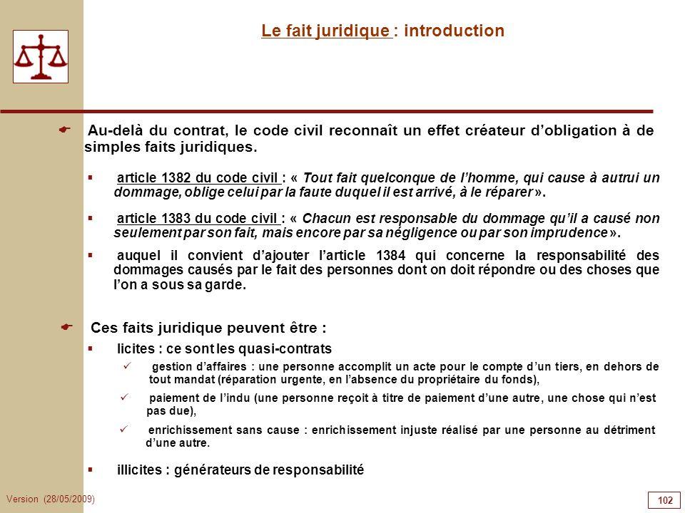 Version (28/05/2009) 102 Le fait juridique : introduction Au-delà du contrat, le code civil reconnaît un effet créateur dobligation à de simples faits