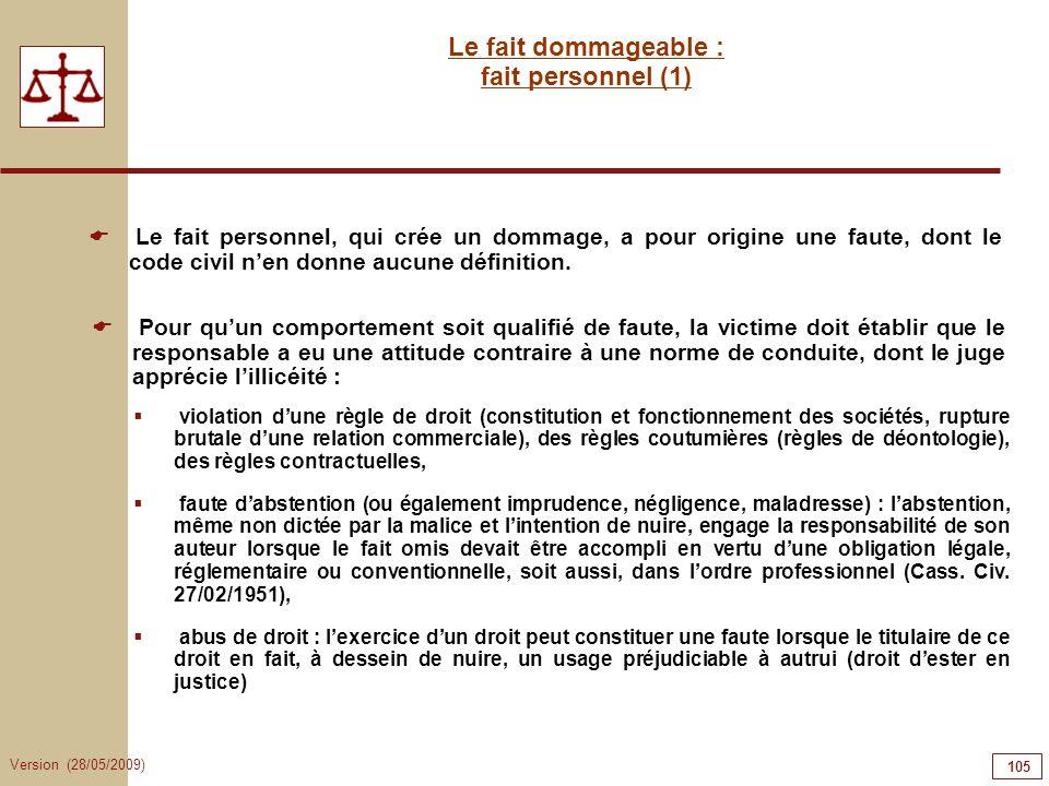 Version (28/05/2009) 105 Le fait dommageable : fait personnel (1) violation dune règle de droit (constitution et fonctionnement des sociétés, rupture