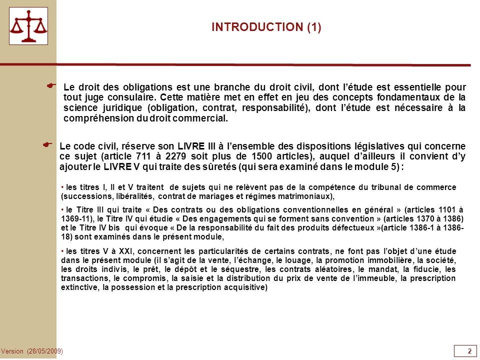 2 Version (28/05/2009) INTRODUCTION (1) Le code civil, réserve son LIVRE III à lensemble des dispositions législatives qui concerne ce sujet (article