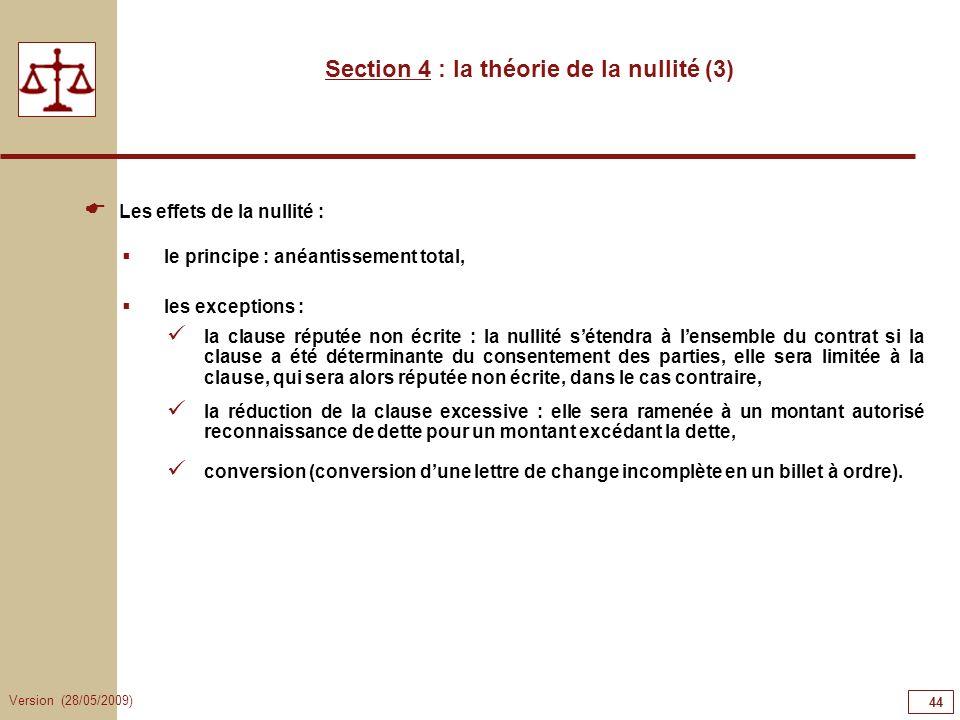 Version (28/05/2009) 44 Section 4 : la théorie de la nullité (3) Les effets de la nullité : le principe : anéantissement total, les exceptions : la cl