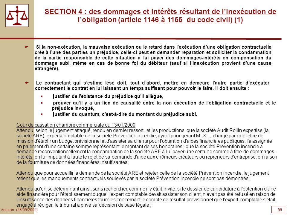 59 Version (28/05/2009) SECTION 4 : des dommages et intérêts résultant de linexécution de lobligation (article 1146 à 1155 du code civil) (1) Si la no