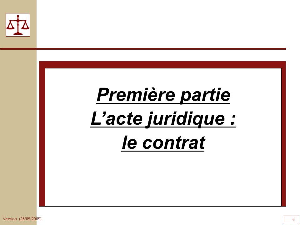 Version (28/05/2009) 6 Première partie Lacte juridique : le contrat