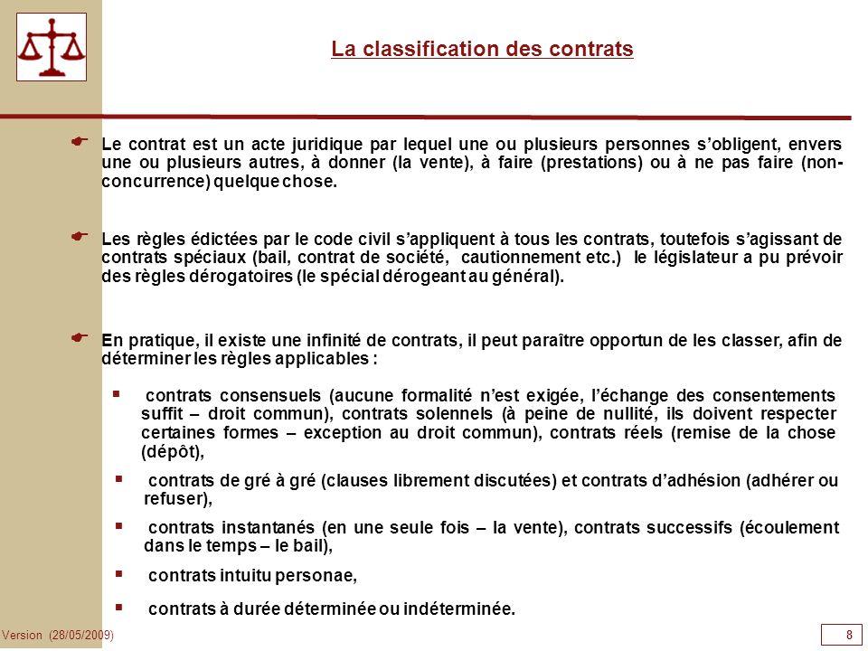 8 Version (28/05/2009) La classification des contrats Les règles édictées par le code civil sappliquent à tous les contrats, toutefois sagissant de co