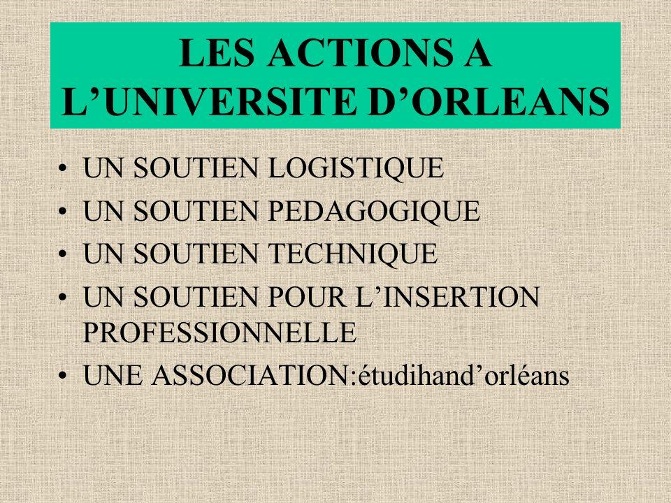 LES ACTIONS A LUNIVERSITE DORLEANS UN SOUTIEN LOGISTIQUE UN SOUTIEN PEDAGOGIQUE UN SOUTIEN TECHNIQUE UN SOUTIEN POUR LINSERTION PROFESSIONNELLE UNE ASSOCIATION:étudihandorléans