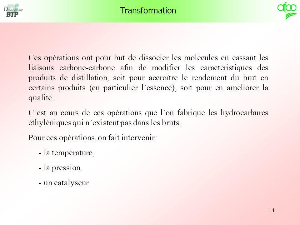 14 Transformation Ces opérations ont pour but de dissocier les molécules en cassant les liaisons carbone-carbone afin de modifier les caractéristiques