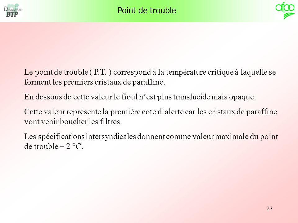 23 Point de trouble Le point de trouble ( P.T. ) correspond à la température critique à laquelle se forment les premiers cristaux de paraffine. En des