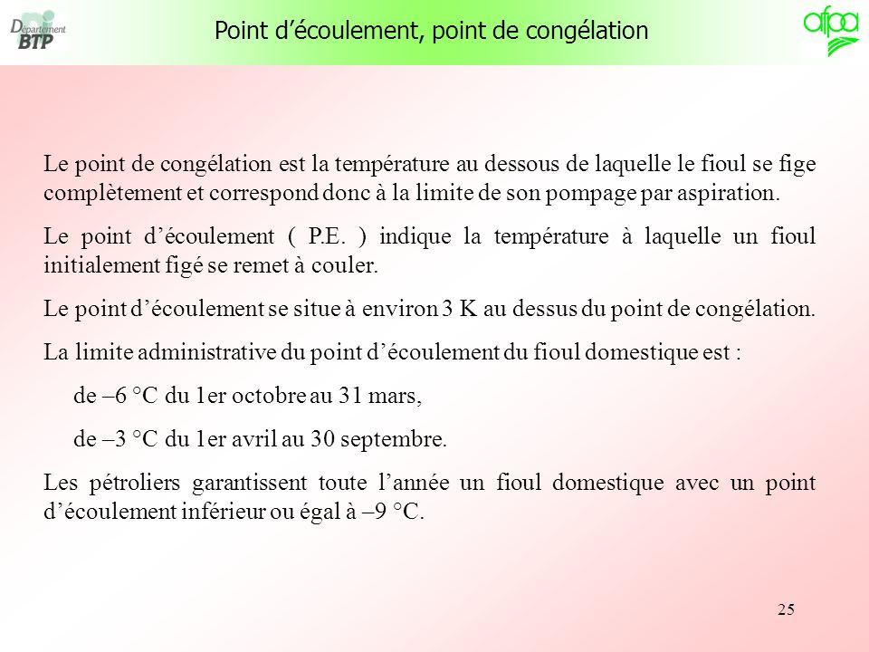 25 Point découlement, point de congélation Le point de congélation est la température au dessous de laquelle le fioul se fige complètement et correspo