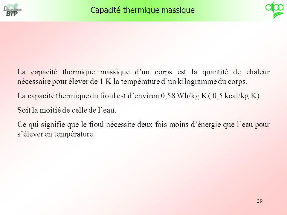 29 Capacité thermique massique La capacité thermique massique dun corps est la quantité de chaleur nécessaire pour élever de 1 K la température dun ki