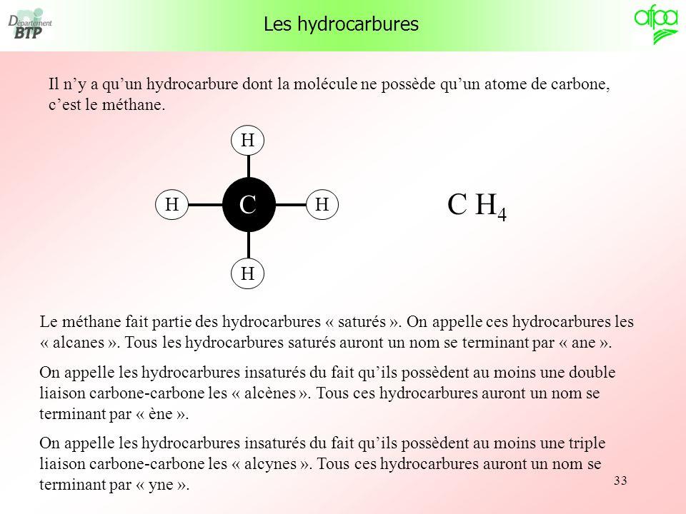 33 Il ny a quun hydrocarbure dont la molécule ne possède quun atome de carbone, cest le méthane. C H C H 4 Le méthane fait partie des hydrocarbures «