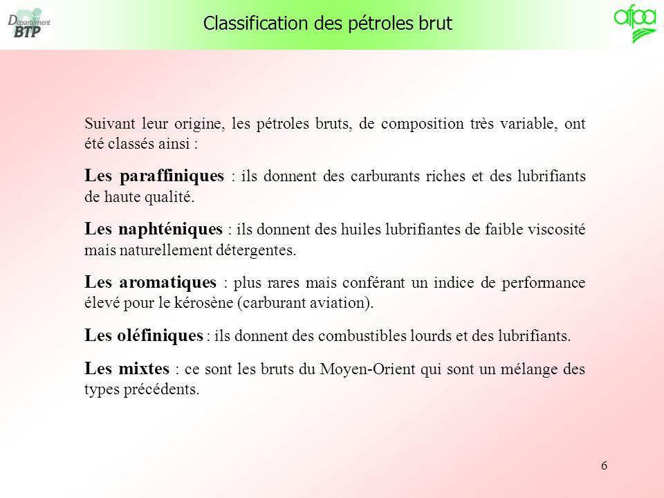 6 Classification des pétroles brut Suivant leur origine, les pétroles bruts, de composition très variable, ont été classés ainsi : Les paraffiniques :