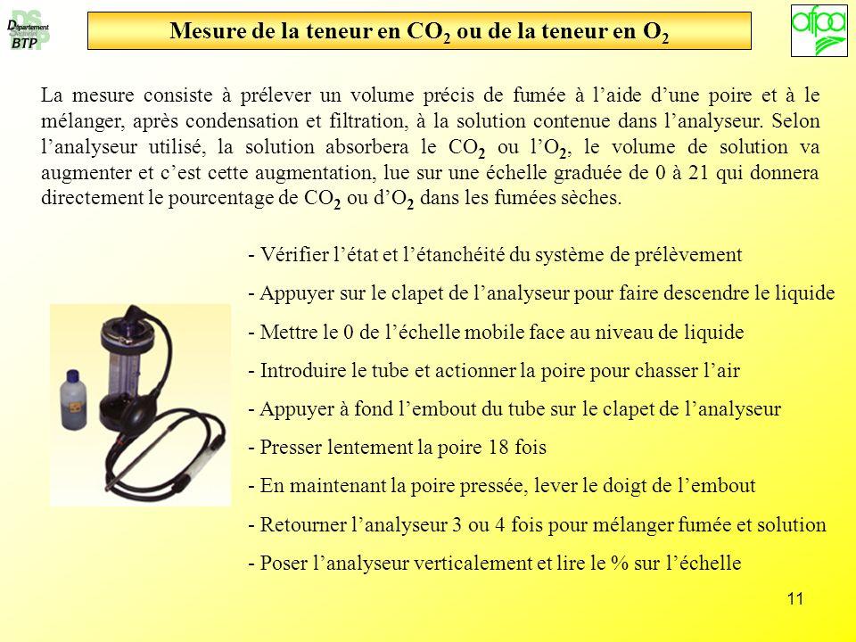 11 Mesure de la teneur en CO 2 ou de la teneur en O 2 La mesure consiste à prélever un volume précis de fumée à laide dune poire et à le mélanger, apr