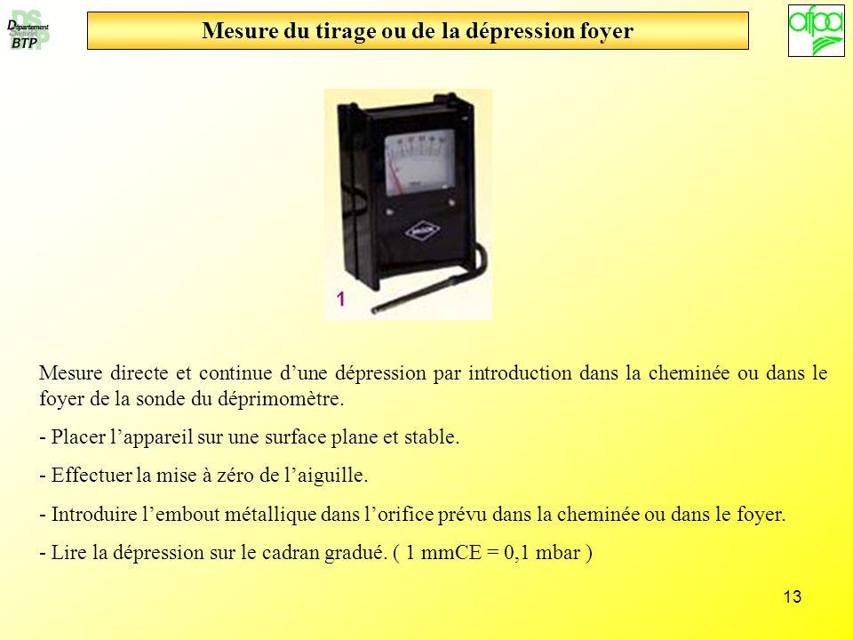 13 Mesure du tirage ou de la dépression foyer Mesure directe et continue dune dépression par introduction dans la cheminée ou dans le foyer de la sond