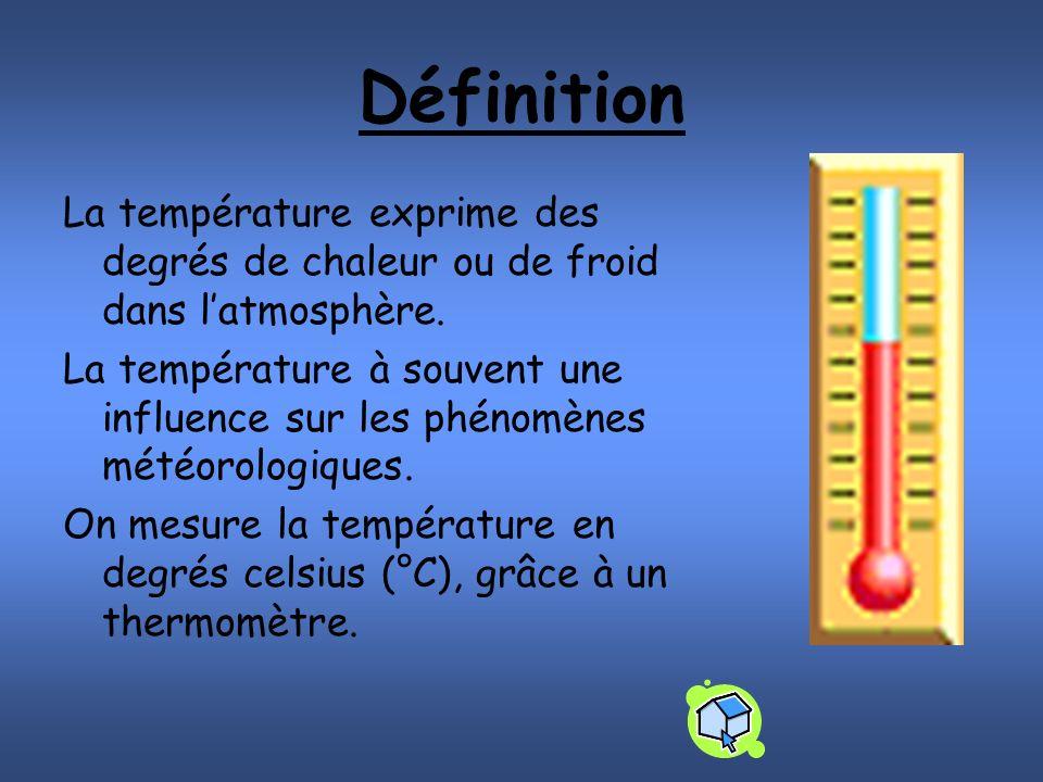 Définition La température exprime des degrés de chaleur ou de froid dans latmosphère.