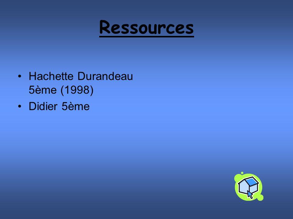 Ressources Hachette Durandeau 5ème (1998) Didier 5ème