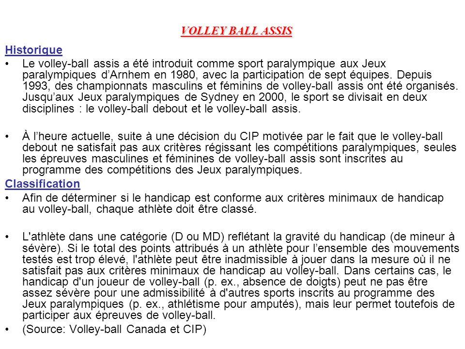 VOLLEY BALL ASSIS Historique Le volley-ball assis a été introduit comme sport paralympique aux Jeux paralympiques dArnhem en 1980, avec la participati