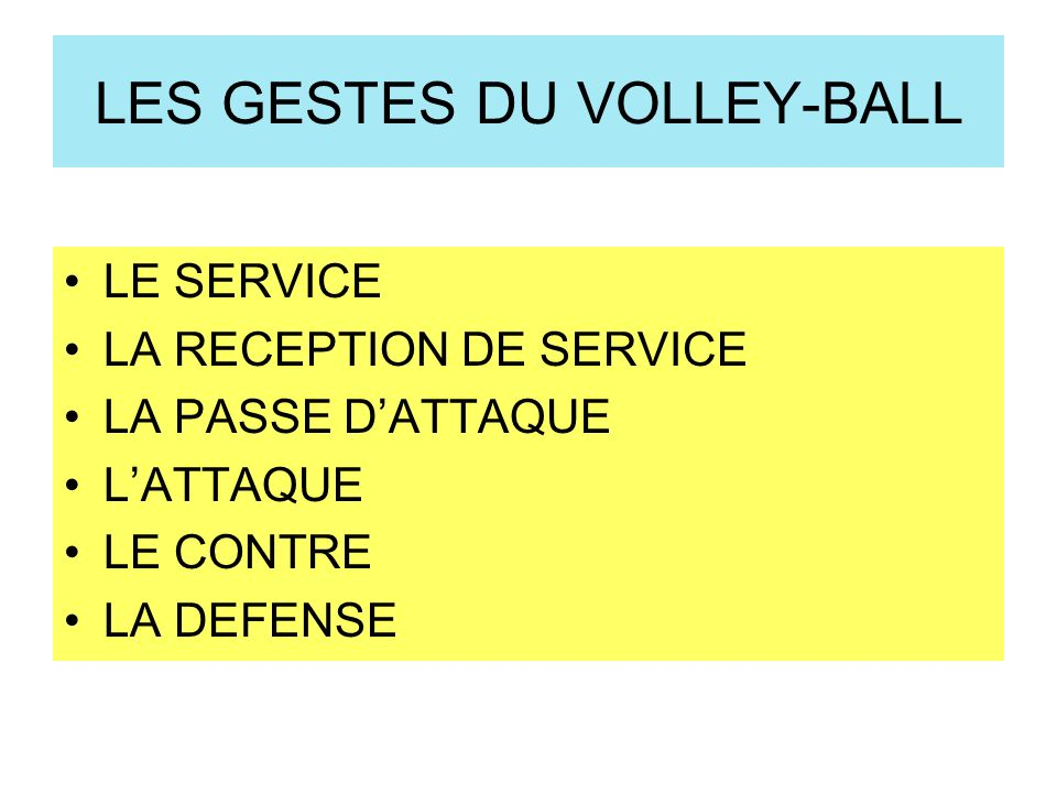 LES GESTES DU VOLLEY-BALL LE SERVICE LA RECEPTION DE SERVICE LA PASSE DATTAQUE LATTAQUE LE CONTRE LA DEFENSE