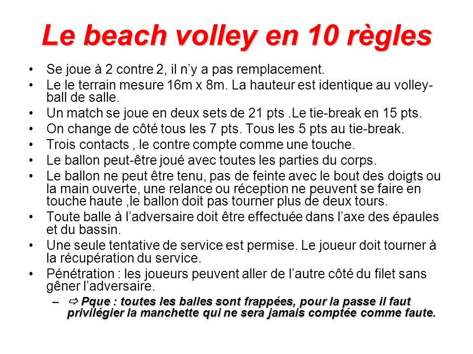 Le beach volley en 10 règles Se joue à 2 contre 2, il ny a pas remplacement. Le le terrain mesure 16m x 8m. La hauteur est identique au volley- ball d