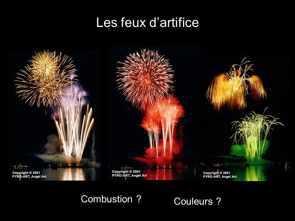 Principe dun feu dartifice Composition du mélange utilisé : Oui, loxygène est fourni par le mélange et non par lair Dégagement dénergie dans un petit volume explosion violente du mélange La réaction est-elle une combustion .