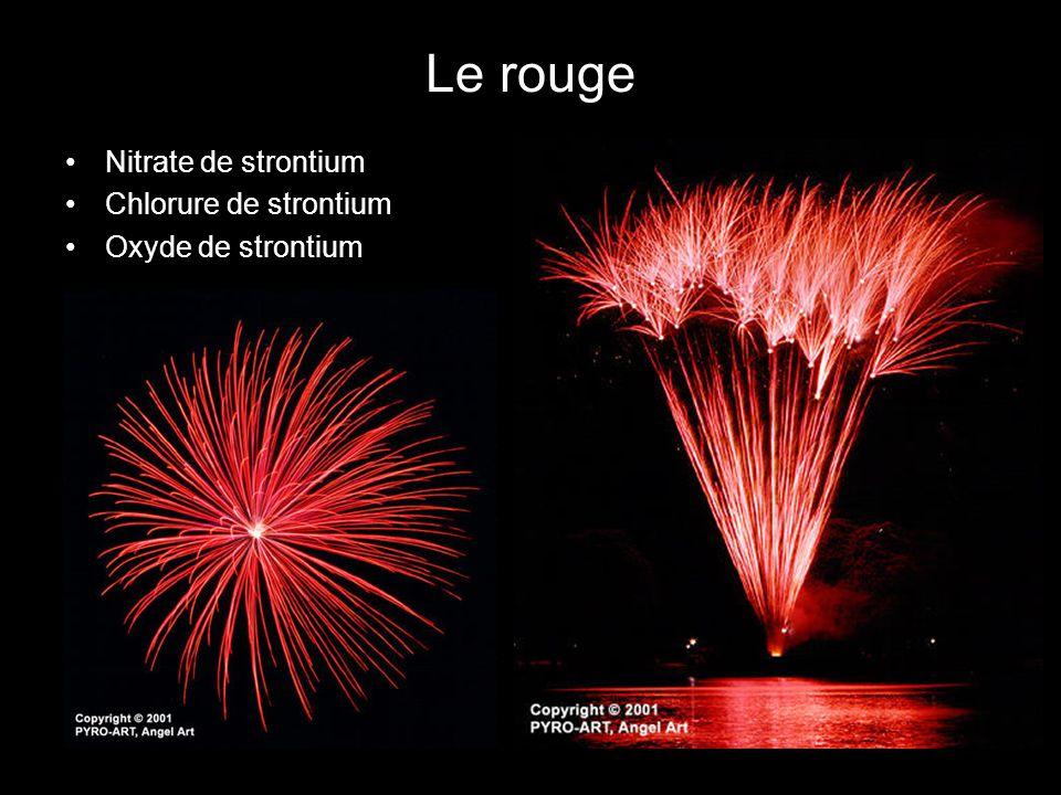 Le rouge Nitrate de strontium Chlorure de strontium Oxyde de strontium