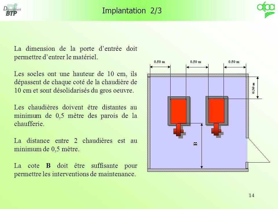 14 La dimension de la porte dentrée doit permettre dentrer le matériel. Les socles ont une hauteur de 10 cm, ils dépassent de chaque coté de la chaudi