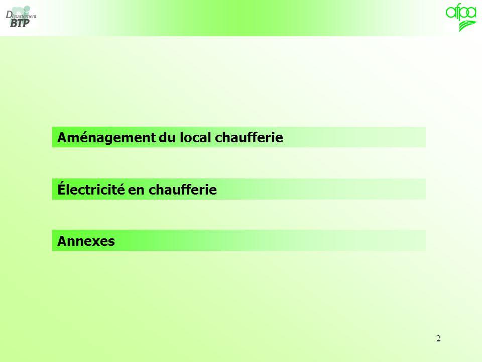 13 Moyennant certaines conditions relatives à chaque emplacement, une chaufferie gaz peut être installée selon le tableau suivant : Implantation 1/3 P 2 000 kW 2 000 < P 5 000 kW P > 5 000 kW Terrasse (1)Non Terrasse (2)OuiOui (3)Non Dernier niveauOuiOui (3)Non Étage courant, rez-de-chaussée, sous-solOuiNon ExtérieurOui (1)Cas des terrasses comportant des logements, bureaux ou zones accessibles au public à une distance horizontale de la chaufferie inférieure à 10 mètres.
