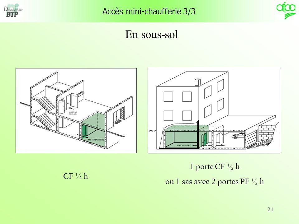 21 Accès mini-chaufferie 3/3 CF ½ h 1 porte CF ½ h ou 1 sas avec 2 portes PF ½ h En sous-sol