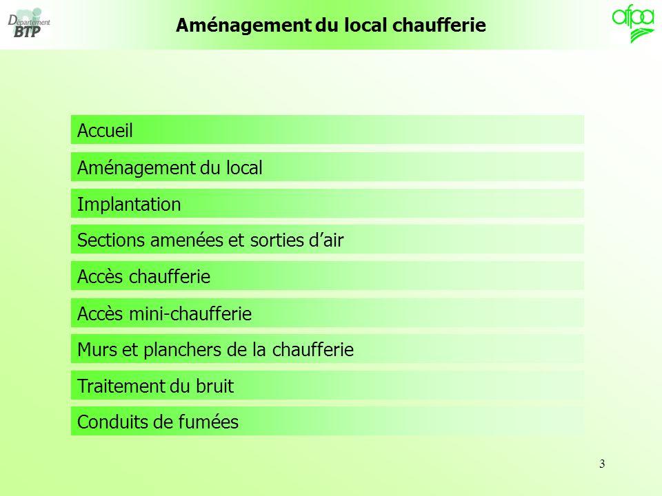 3 Aménagement du local Accueil Implantation Sections amenées et sorties dair Accès chaufferie Accès mini-chaufferie Murs et planchers de la chaufferie